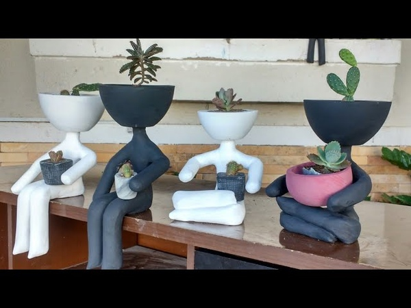 Diy vasinhos charmosos criativos de cimento Robert planta usei sacos de sacolé