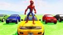Мультики про машинки Супергерой Человек-паук Цветные машинки Видео с супергероями Мультики для детей