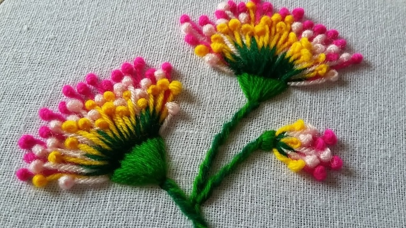 Hand embroidery of flowers with polan stitch 38