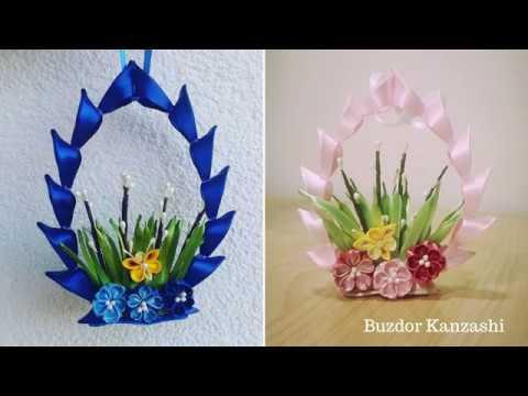 DIY Kanzashi húsvéti dekor -haladó/ Easter decoration - advance/ How to make/ satin ribbon