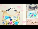 How to sew a beautiful flowers bag   So lovely   Easy tutorial🌻🌻图案是自己画上去的手作包,可爱吧!