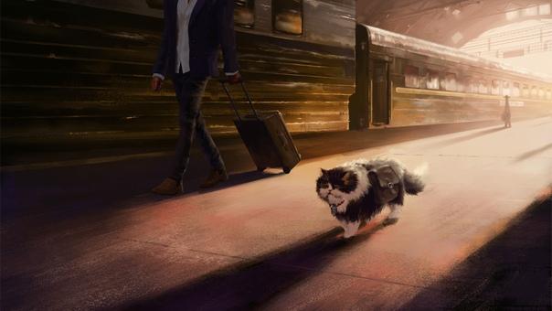 Серия рисунков: Кот-путешественник, или долгая дорога домой. (Художник Андрей Пальянов)Вспоминается история сиамского кота Семёна, потерянного хозяевами в Москве при возвращении из отпуска.