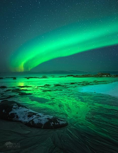 Фантастический, волшебный зеленый цвет северного сияния. (Норвегия)