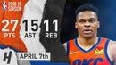 Russell Westbrook Triple-Double Highlights vs Timberwolves 2019.04.07 - 27 Pts, 15 Ast, 10 Reb!