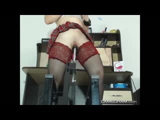 Luxury shaved camgirl uses a fuck machine to cum hard - big ass butts booty tits boobs bbw pawg curvy mature milf stockings