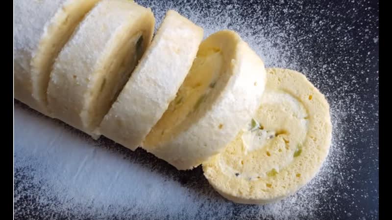 Бисквитный РУЛЕТ С КИВИ🥝КУРД ИЗ КИВИ | Больше рецептов в группе Десертомания