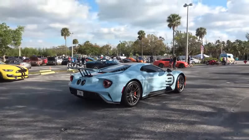 2019 Ford GT Heritage Edition Gulf Livery and More Supercars Drive by at Cars Coffee Key Biscayne