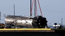 Damaged Falcon Heavy Arabsat 6A Core Booster Lifted off Drone Ship in 4k UHD