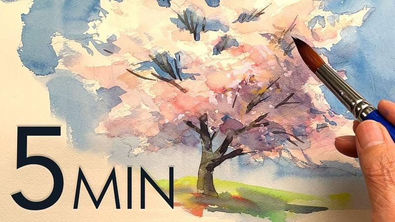 Eng sub 5min Easy Watercolor Sakura Cherry blossom
