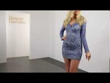 Holt Eli Blue Jean Lace Hand Painted Bodycon Mini Dress