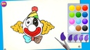 Colors for kids cat, girl, worm and clown