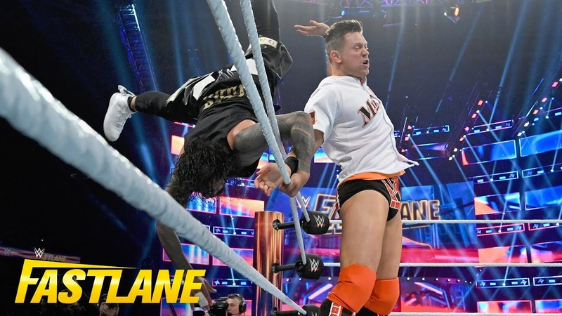 [BMBA] The Miz sends both Usos flying from the ring WWE Fastlane 2019 (WWE Network Exclusive)