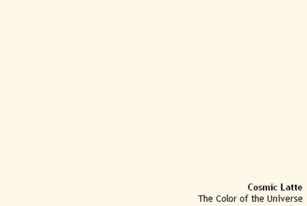 Группа астрономов Университета Джонса Хопкинса в 2002 году определила, что если усреднить цвета всех источников света во Вселенной, то получится светло-бежевый цвет Его показали в заметке газеты