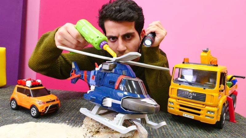Tobot helikopter oyuncağı tamir etme oyunu! Oyuncak arabalar. Çocuk videosu
