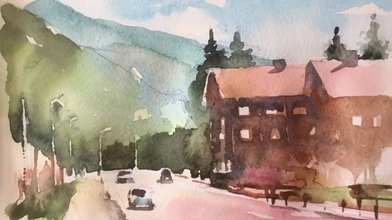 Watercolor sketching of a mountain road