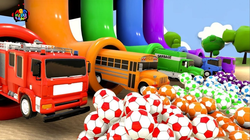 Learn Colors with city Vehicle and Surprise soccer Ball in Magic slide hole play for Kids
