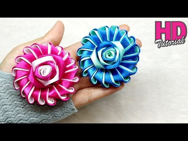 DIY Bros Bunga How to make satin ribbon flower kanzashi flower kanzashi brooch