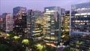 Las Condes and Plaza Baquedano in Santiago, Chile Night Falls