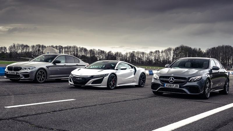 Honda NSX vs BMW M5 Competition vs Mercedes-AMG E 63 S   Drag Races   Top Gear