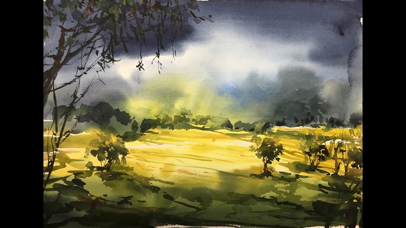 Landscape Nature field watercolor painting tutorial 2x speed