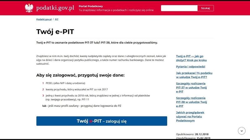 Usługa Twój e PIT Prezentacja funkcjonalności