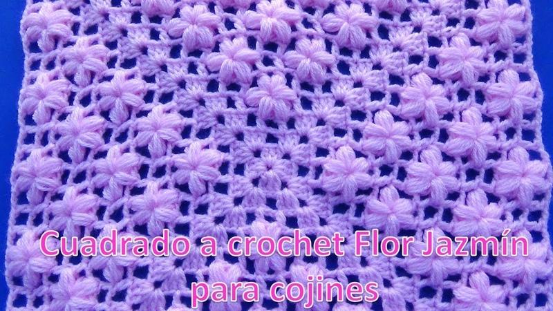 Cuadrado a crochet en punto flor Jazmín para aplicar en cojines y mantitas de bebe