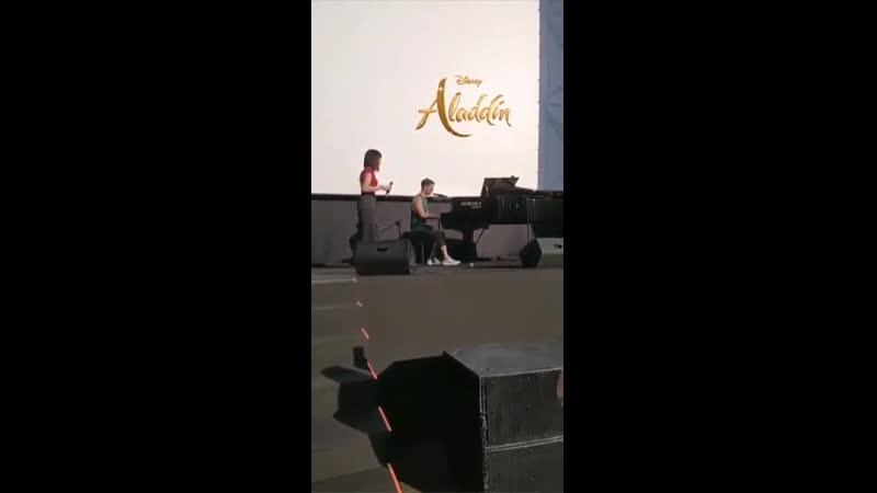VIDEO Darren Criss and Naomi Rivieccio rehersing A Whole New World yesterday via Laura Bellofattos IG Story