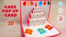 DIY Easy 3D Cake Pop Up Card How to make Pop up Birthday Cards