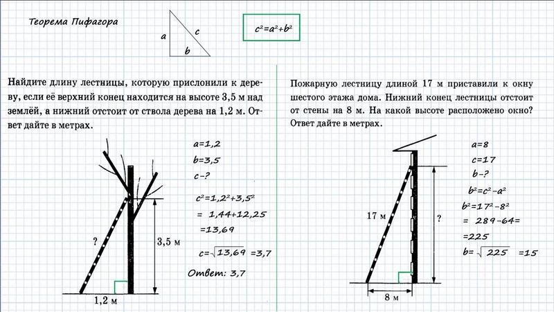 ОГЭ по математике. Задание 15. Пять задач на теорему Пифагора. Должен знать!