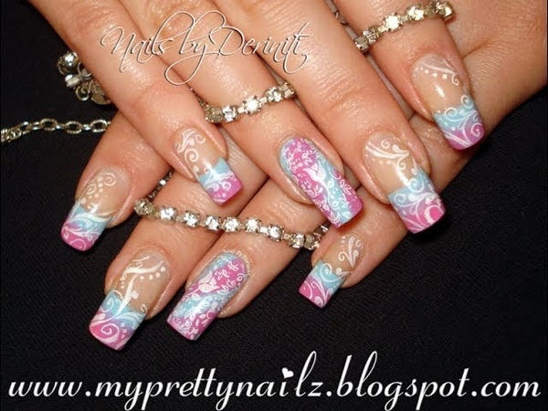 SIMPLE SPRING SUMMER OMBRE FRENCH TIPS WITH SWIRLS AND FLOWERS NAIL ART STAMPING TUTORIAL