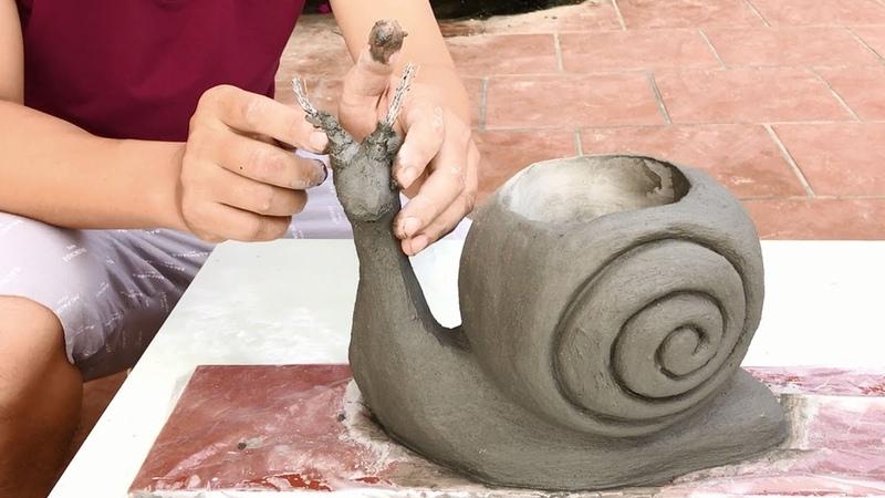 DIY Creative hands Design bonsai pots from snails Beautiful cement craft ideas