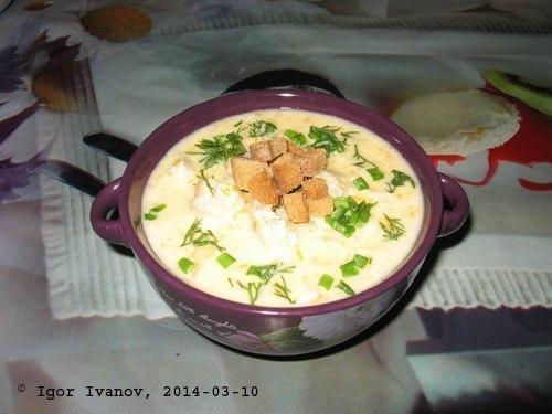 Готовим вкусный сырный суп с курицей!