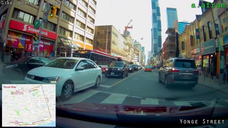 Driving in Downtown Toronto on Yonge Street South Direction Ontario Canada 1440p