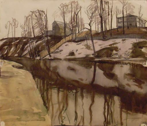 Попков Виктор Ефимович (19321974) «Клязьма весной» Бумага, акварель, 29 х 34, 1953г.