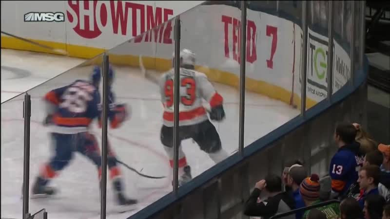 GOTTA SEE IT- Voracek Catches Boychuk With Massive Reverse-Hit Interference