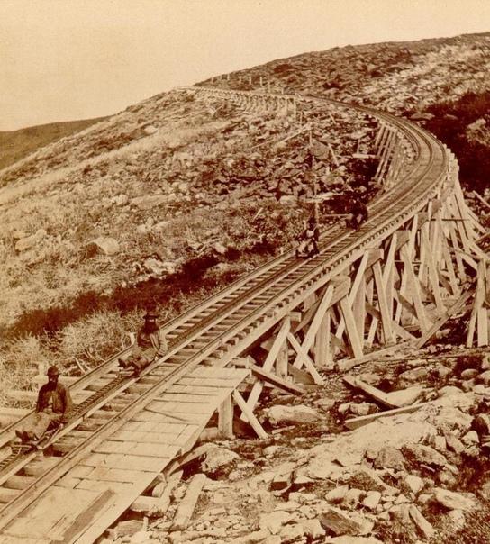 Зубчатая железная дорога, гора Вашингтон, США (начало XX века).