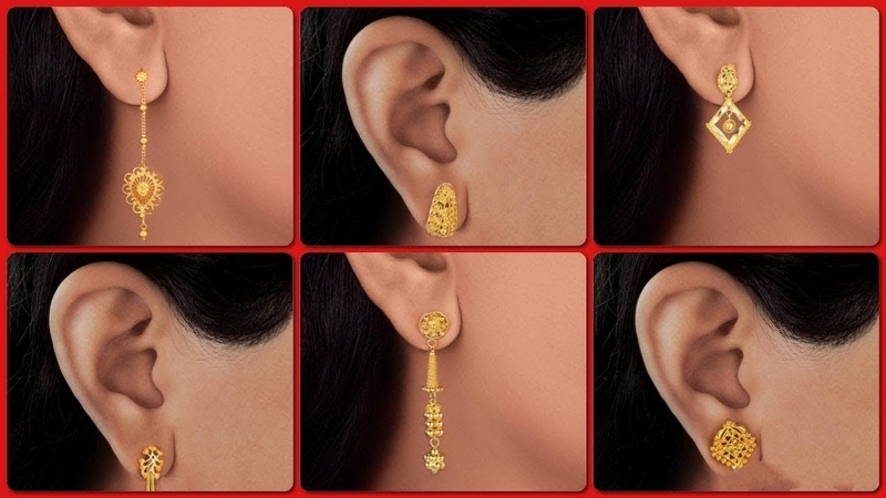 Latest gold earrings designs with weight gold jhumka,chandbali earrings