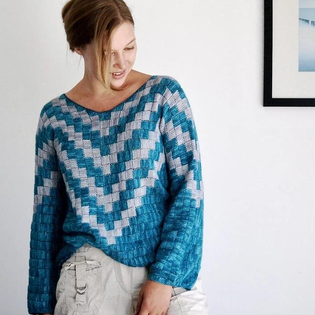 Вязаный крючком пуловер Zzz