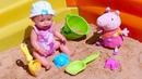Juegos en la caja de arena Peppa y Baby Born en la calle Juguetes y muñecas para niñas