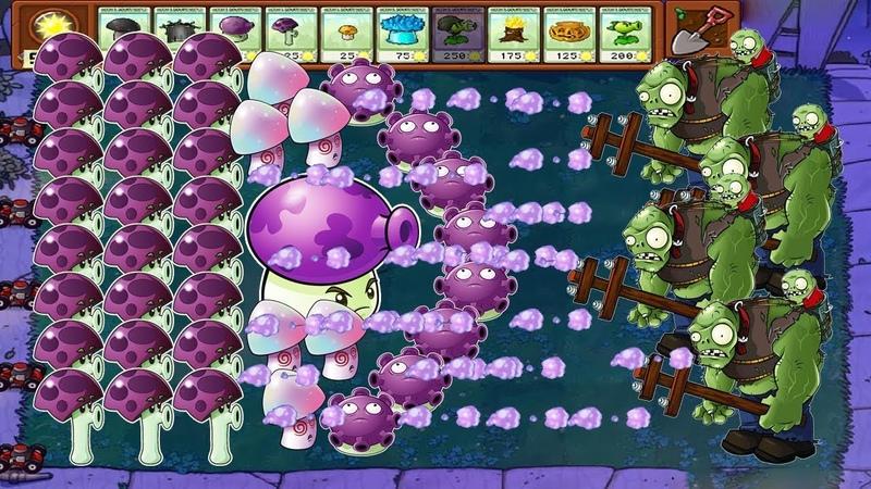 Plants vs Zombies Scaredy Shroom vs Fume Shroom vs Gloom Shroom