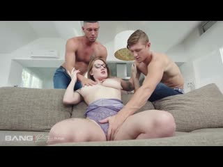 Aria kai gets her pussy used by two dicks (threesome, big tits, blowjob, brunette, hardcore, tatoo, glasses)