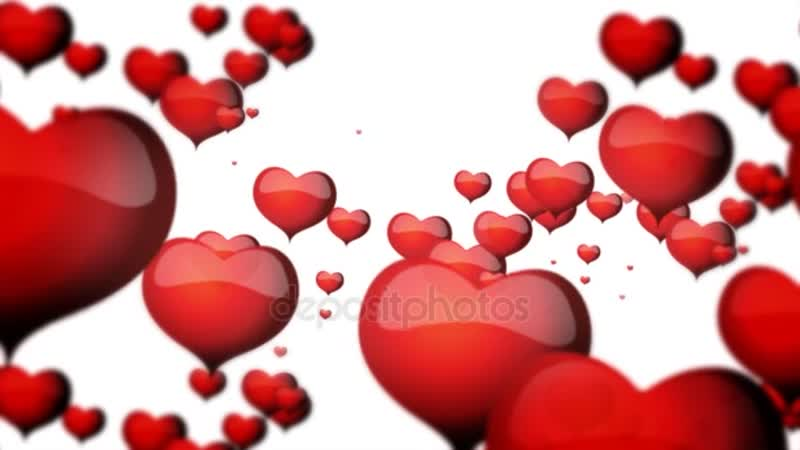 Красные сердца, плавающие на белом фоне для Дня святого Валентина