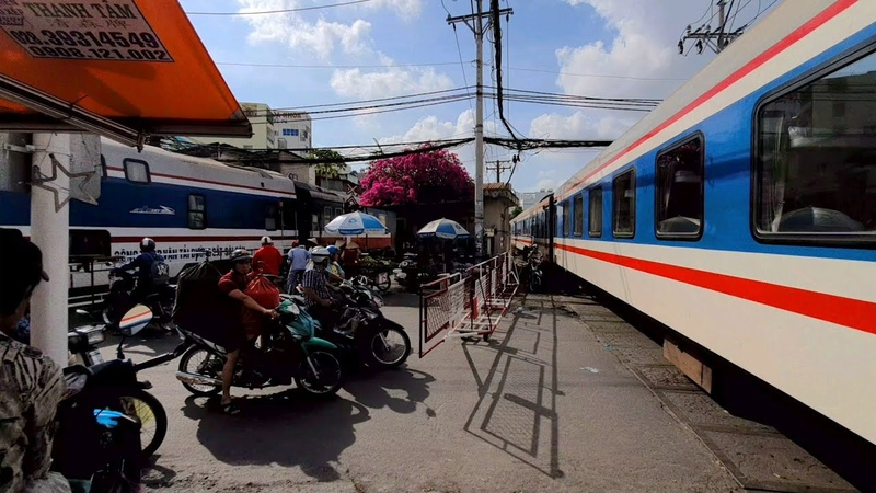 14 Trains arriving and departure in Ho Chi Minh City at daytime 2019