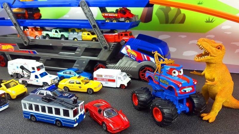 Машинка транспортировщик со скорой помощью мусоровозом машинками такси эвакуатором Toys for Kids