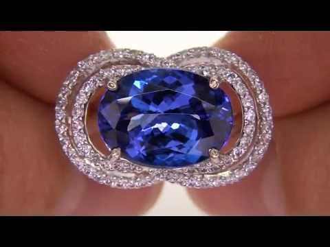 Rare Genuine D-Block Tanzanite Diamond Cocktail Ring Will Be Sold To The High Bidder - AAA