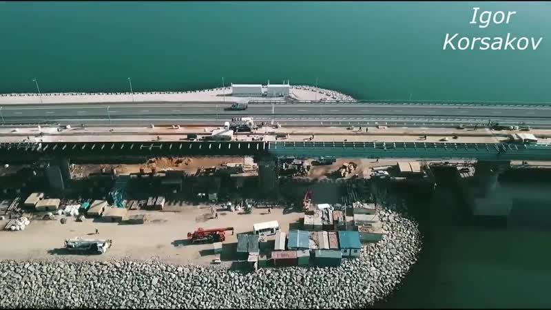 Крымский мост(24.04.2019) На Ж_Д МОСТУ от АРОК до берега КРЫМА почти ГОТОВА гидроизоляция ЛЕТИМ