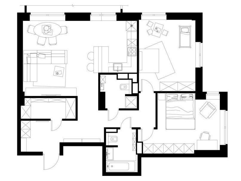 Проект небольшой трехкомнатной квартиры