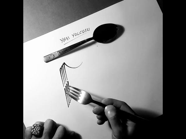 Fork Calligraphy-Çatal Kaligrafi (Yazı Yolcusu)