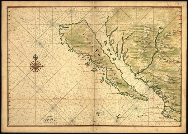 Карта Калифорнии XVII века. Территория изображена как остров