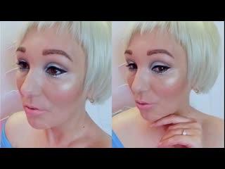 Макияж голубой персиковый выразительные глаза без накладдных ресниц
